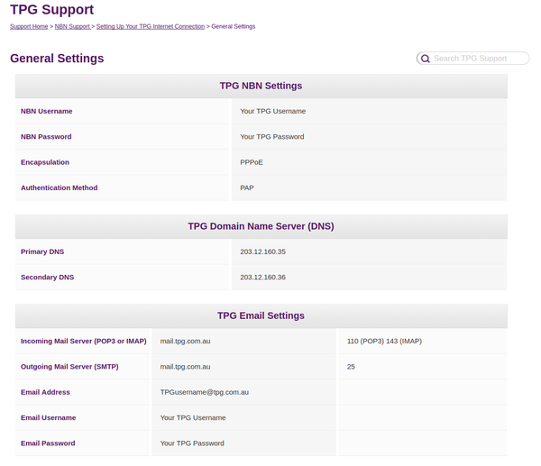 TPG's NBN settigns with no VLAN setting mentioned