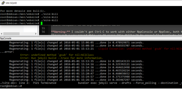 Picture of using external ssh script to kill jekyll window instead of killing notepad++ CLI