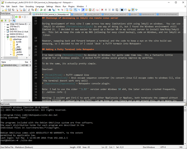 Picture of Notepad++ with attached PuTTY terminal