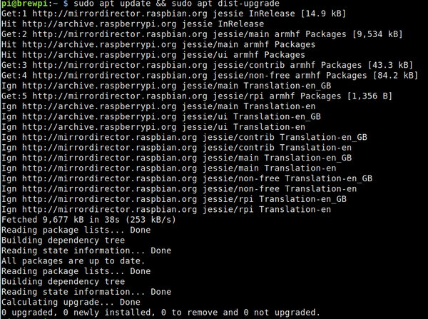 Updating a Raspberry Pi with sudo apt update && sudo apt dist-upgrade.