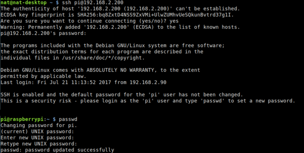 Raspberry Pi login to SSH and use PASSWD to change default password for security