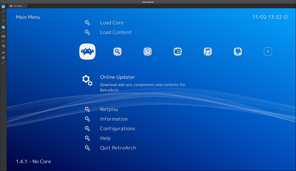 RetroArch at the core updated screen
