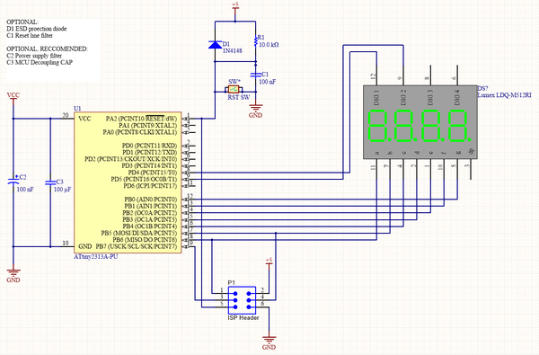 Schematic for muiltplexing two seven segment displays with a ATTiny2313a