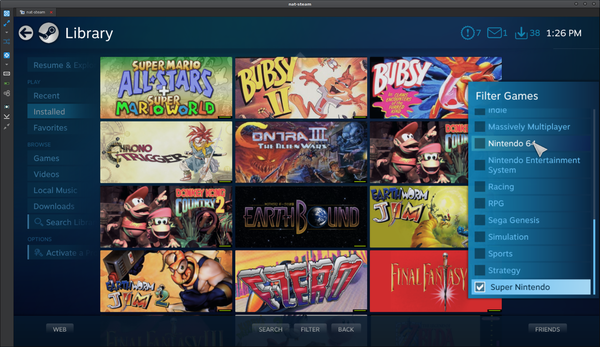 Steam Big Picture list with many super nintendo games